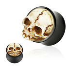 Buffalo Horn Double Flared Plug with 3D Hand Carved Skull