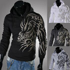 HOT Men's Slim Fit Hooded Jacket Top Designed Sweater Coat Hoodies Size XS S M L
