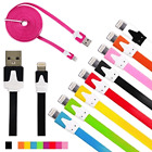 NTJ Flat Noodle data charge Cable charger for iPhone X 8 7 6 plus 4s 5 MICRO USB