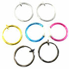 13mm Small CLIP ON SPRING HOOP EARRINGS Upper Ear Cartilage fake Nose Ring Mens