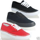 NEW WOMENS LADIES FLAT CANVAS LACE UP FRONT CASUAL PLIMSOLL TRAINER SHOES SIZE