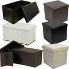LARGE FAUX LEATHER OTTOMAN FOLDING STORAGE CHEST BOX STOOL SEAT FOOT POUFFE TOY