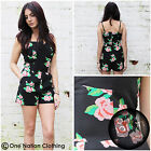 Floral Playsuit Rose Black Pink Red Holiday Flower Like Motel Daisy 8 10 12 14