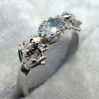 Light Blue Aquamarine Frog Ring, Hand Crafted Sterling Silver sizes 3 through 12