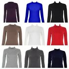 WOMENS LONG SLEEVE STRETCH TURTLE PLAIN POLO NECK TOP LADIES JUMPER SIZE 8-14