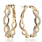 18K Gold Filled Round Hoop Crystal Pierced Earring CCM039