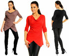 Buttoned Roll Up Sleeves Women's Ladies Cowl Neck Top Jumper Tunic UK 10-12  044