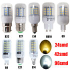 4 x E14 E27 G9 B22 GU10 G4 24 / 42 / 96 SMDs LED Corn Bulbs Warm Day White Light