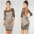 Charming Lady Sexy Nude Illusion Lace Backless Cocktail Bodycon Party Slim Dress