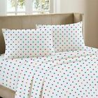 LUXURY 100% BRUSHED COTTON SOFT FLANNELETTE COMPLETE SHEET SET: POLKA DOT
