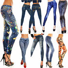 Women Printing Faux Jeans Sexy Skinny Leggings Jeggings Tights Stretch Pants