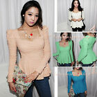 Women Casual Puff Sleeve Day Elegant Sweetheart Neckline Flare Peplum Blouse Top