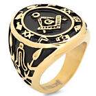 Gold Color Stainless Steel Masonic Freemason Square & Compass Men's Ring