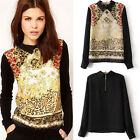 Vogue Vintage Women Casual Chiffon Long Sleeve Flower T-Shirt Blouse Tops
