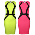 Womens Sleeveless Black Strip Ribbed Fitted Stretch Bodycon Bandage Party Dress