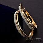 Women Yellow Gold Silver Sparkle Big Round Hoop Earrings GM161D6