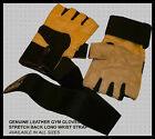 10 X GENUINE LEATHER GYM WEIGHT LIFTING GLOVES-STRETCH Yellow