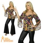 Female Hippy Woman Costume 60s 70s Fancy Dress Flares Womens UK 8-26 Plus Size