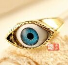 FD396 Women Girl Gold Plated Retro Vintage Gothic Punk Nana Blue Eye Ring ~1PC~