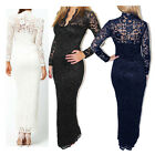 Hot Sale Ladies Long Sleeve V-Neck Lace Cocktail Evening Bodycon Slim Fit Dress