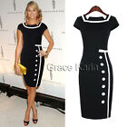 CHIC Lady Office Cap Sleeve Bodycon Cocktail Formal Evening Pencil Celeb Dress