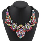 lady colorful flower rainbow chunky bib choker collar statement necklace XL1486