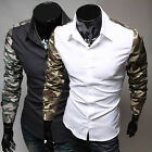 Top Fashion Men Slim Fit Camouflage Sleeve Splicing Casual Tee Shirt Dress Shirt