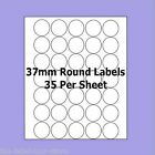 A4 Self Adhesive Labels ~ 37mm Round Circle Labels ~ 35 Labels Per Sheet