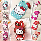 iPhone 4 4s 5 5s Rabbit Polka Dots Hello Kitty Bow 3D Silicone Case +Card holder
