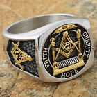 Men Masonic Ring Square G & Pillars Freemason Master Mason Gold Tone Size 9-13