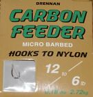 Drennan Carbon Feeder Hooks to Nylon - Used in Pole and Coarse Fishing