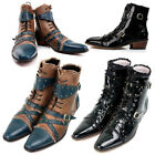 Mens Shoes Perforated Studs Belted Stylish Boots Handmade 0096, GENTLERSHOP