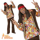60s Psychedelic Hippy Man Costume Mens Hippie Groovy Fancy Dress Outfit New