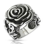Stainless Steel Rose Flower w/Heart Vines Ring Size 6,7,8,9,10 (f303)