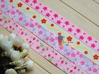 "1"",7/8"" Flowers Mothers Day Printed Grosgrain Ribbon hair Bow 5/10/20/50 Yds"