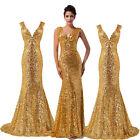Luxury Sexy Women's Sequin Formal Evening Gown Bridal Prom Party Wedding Dress