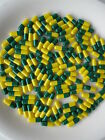 EMPTY Colored GELATIN CAPSULES ~SIZE 00 ~ Green/Yellow (Kosher/ Halal)