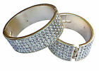 WOMENS LADIES BEAUTIFUL SILVER DIAMANTE JEWELLERY HOOP EARRING BANGLE BRACELET