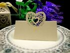 Laser Cut Love heart table name cards for wedding party shimmer ivory color