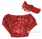 Hot Red Bling Sparkle Sequins Baby Bloomer Panties Bow Accessory Set 6m-3Y
