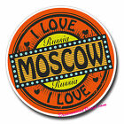 2 x Glossy Vinyl Stickers - I Love Russia Moscow Luggage Fun Laptop Decal #0146
