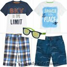 NWT Gymboree STRIPES IN SPACE Boys Size 7 8 Shorts Tee Shirt Top Sunglasses LOT