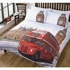 Iconic Red London Bus & Big Ben Duvet Quilt Cover Set from Rapport