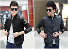 Men's Collar Single-Breasted Mixed Leather Coat Long Sleeves Short Jacket J822