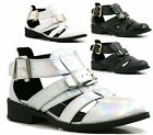 LADIES BUCKLE CUT OUT TRENDY HOLOGRAPHIC FLAT SHOES