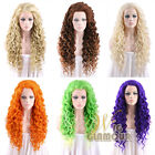 "Long Spiral Curly 26"" Brown / Green / Orange / Blonde / Purple Lace Front Wig"
