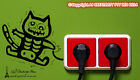 Electric shock kitten wall stickers Decal Switch Funny car toilet vinyl wall art