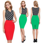 Womens Sexy Slim Fit Office Bodycon Splicing Midi Cocktail Party Work Wear Dress