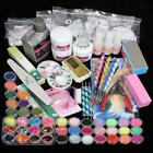 42 Acrylic Powder Liquid Brush Glitter Clipper Primer File Nail Art Tips Kit SET