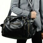 Stylish Faux Leather Men Handbag Vintage Messenger Bag Large Travel Shoulder Bag